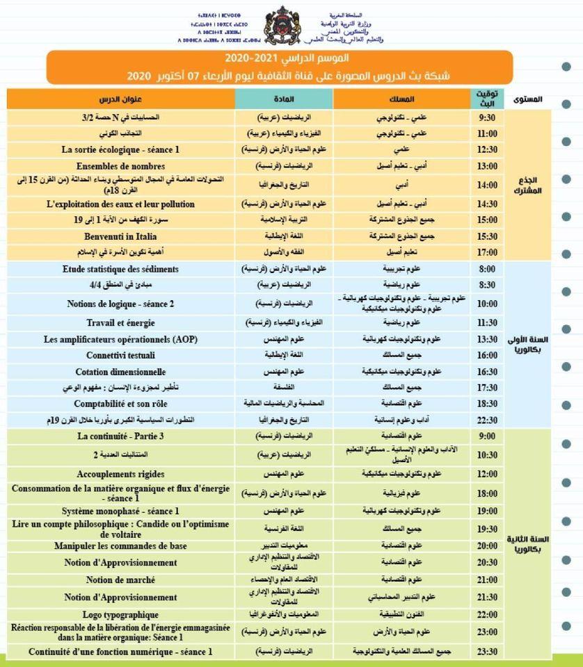 شبكة بث الدروس المصورة على قنوات الثقافية والأمازيغية والعيون ليوم الأربعاء 07 اكتوبر 2020