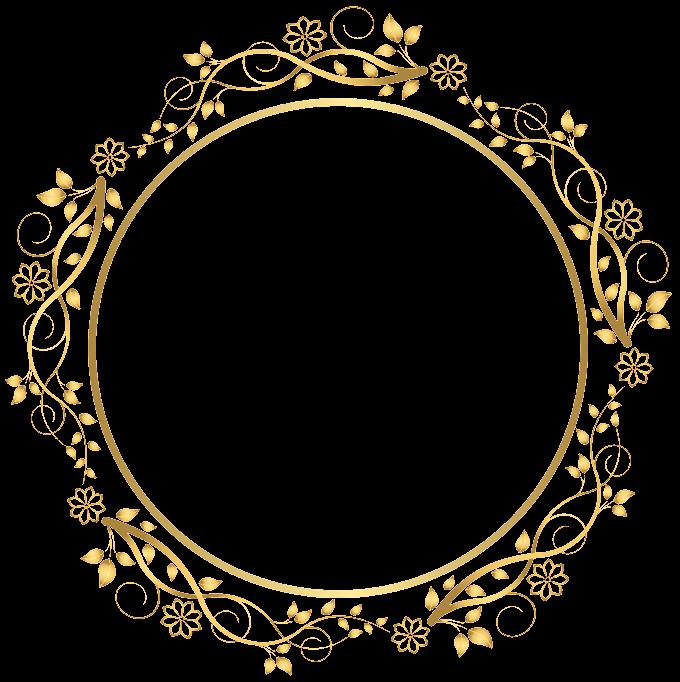 Frame, Gold Round Floral Border, round beige floral frame illustration free png