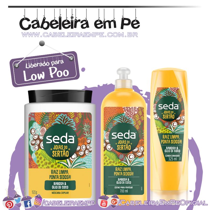 Condicionador, Creme de Tratamento e Creme para Pentear Seda Joias do Sertão Raiz Limpa, Ponta Sedosa - Seda (Low Poo)