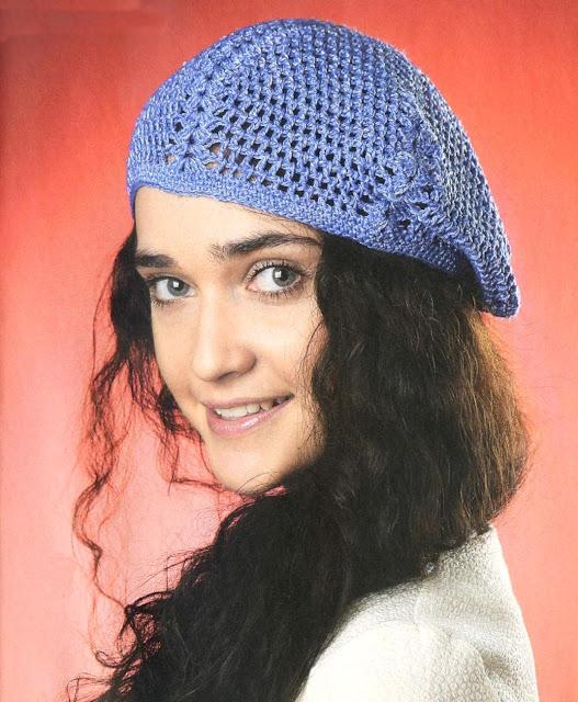 Синий летний берет. Blue lady beret