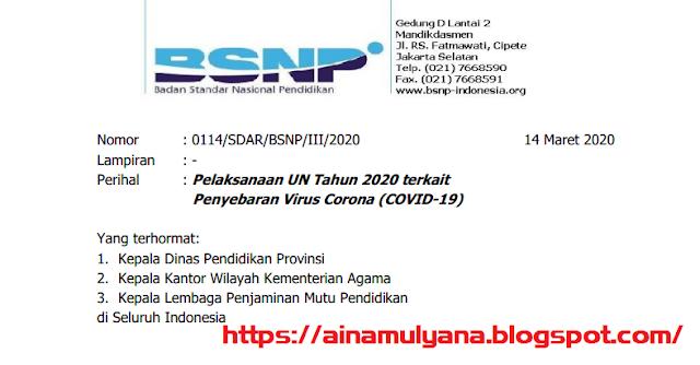 Surat Edaran BSNP Terkait pelaksanaan UN Tahun 2020 Dan Penyebaran Virus Corona