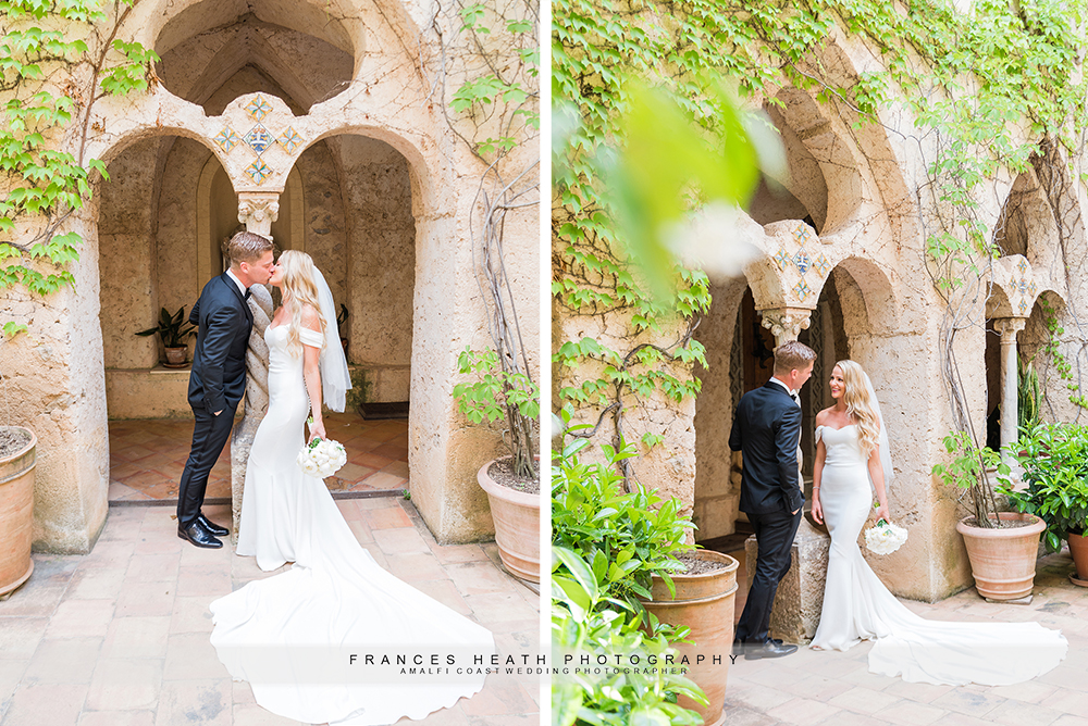 Bride and groom kiss in Villa Cimbrone