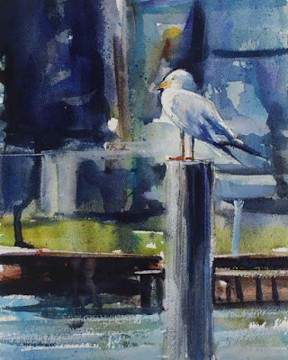 A watercolor painting of a seagull standing on a wood piling.