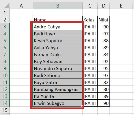 Cara Mengurutkan Data Berdasarkan Abjad di Excel (A ke Z atau Z ke A)