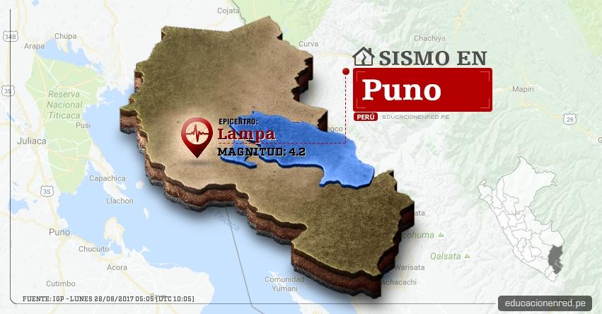 Temblor en Puno de 4.2 Grados (Hoy Lunes 28 Agosto 2017) Sismo EPICENTRO Lampa - IGP - www.igp.gob.pe