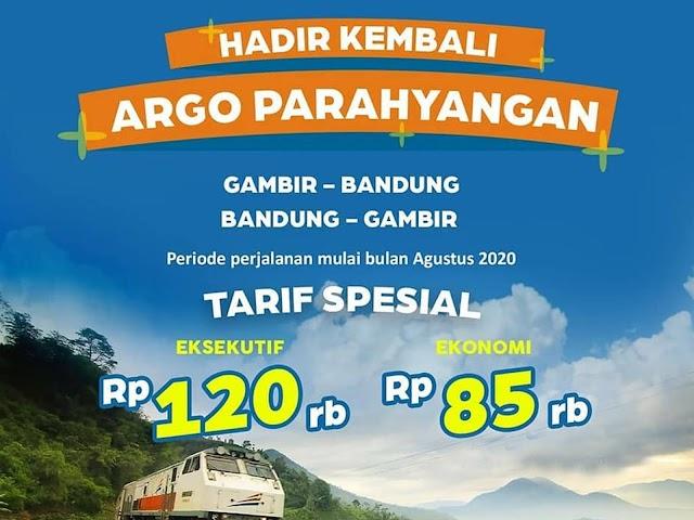 Jadwal Keberangkatan dan Harga Tiket Kereta Api Argo Parahyangan Bulan Agustus 2020