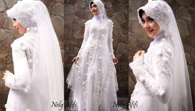 Gaun Pengantin Muslimah Putih