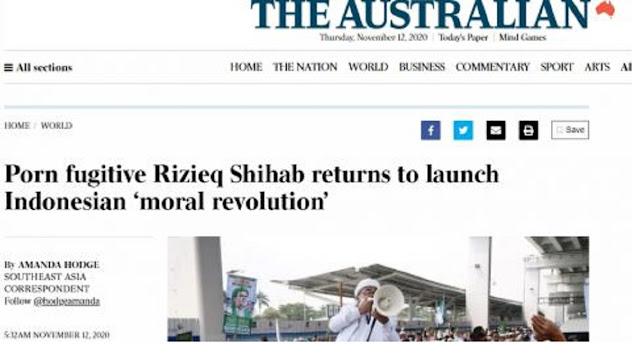 Lancang! Media Australia Sebut Habib Rizieq sebagai Buronan P*rn0