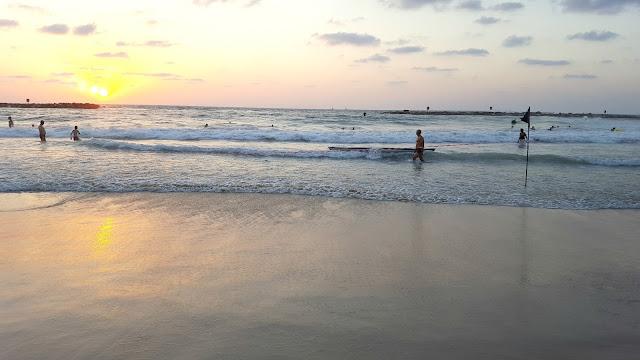 רוחצים בחוף גורדון בשקיעה