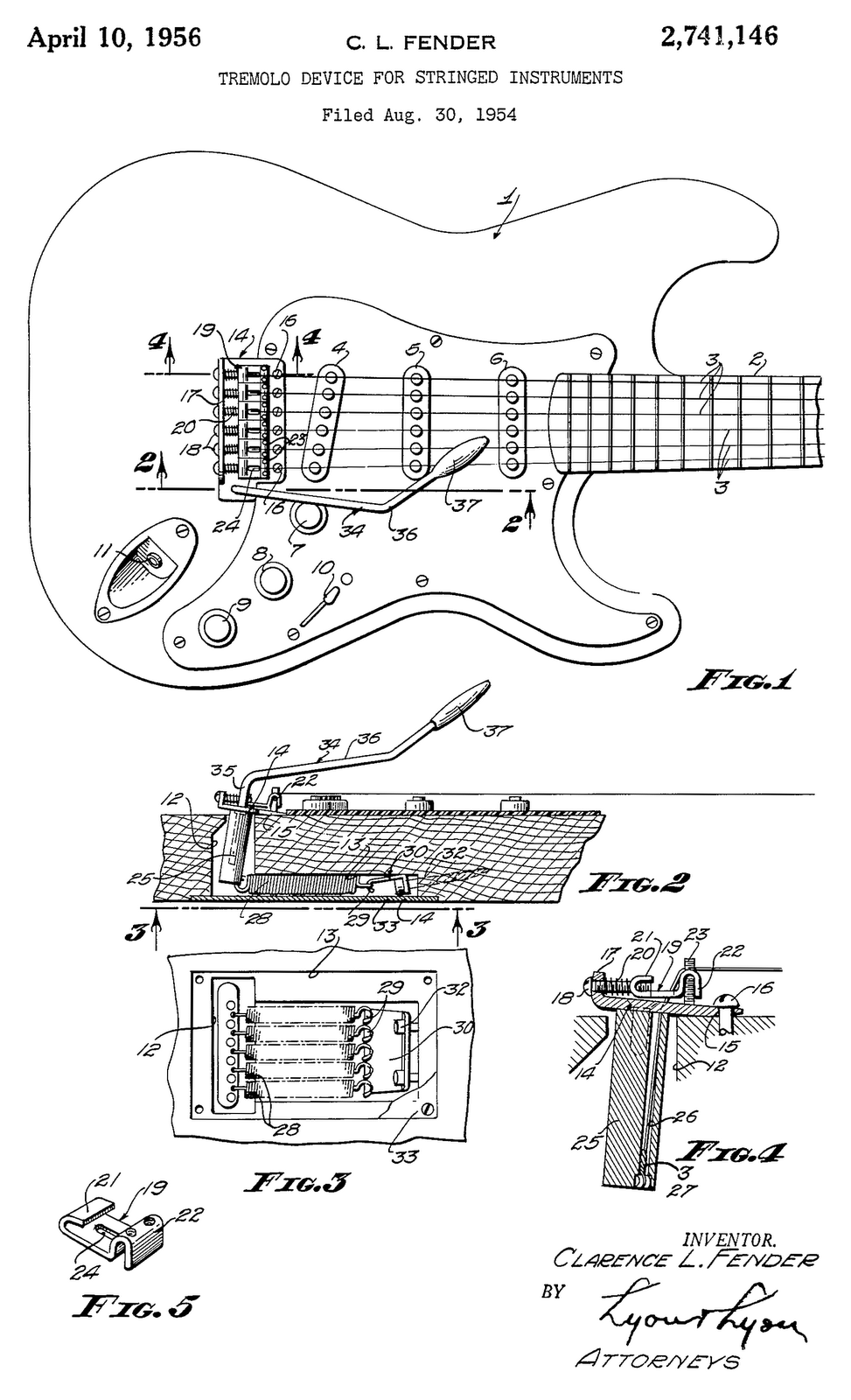 Looking at it from the side (FIG.2) we can see that it pivots on the screws  that hold it to the top of the guitar ...