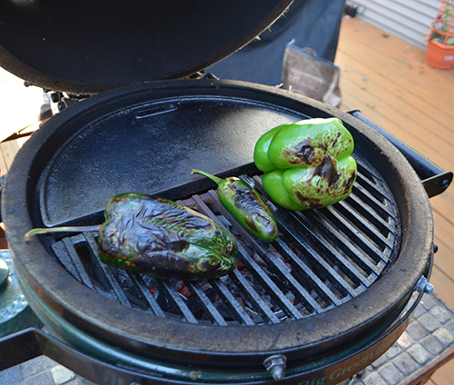 The Big Green Egg Mini-Max is great for searing steaks, chops, or charring vegetables.