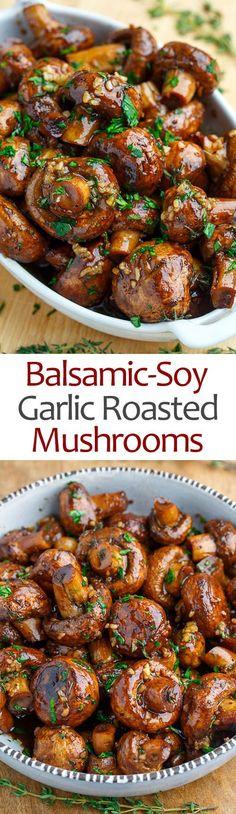 Balsamic Soy Roasted Garlic Mushrooms #dinner #mushroom