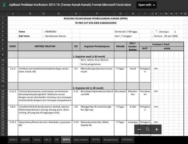 Aplikasi Penilaian Kurikulum 2013 Taman Kanak Kanak