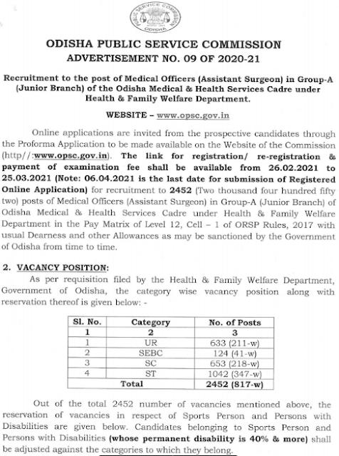 OPSC Medical Officer Asst. Surgeon online form 2021