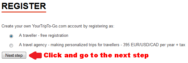 Register screen 'Traveller or Travel Agency'