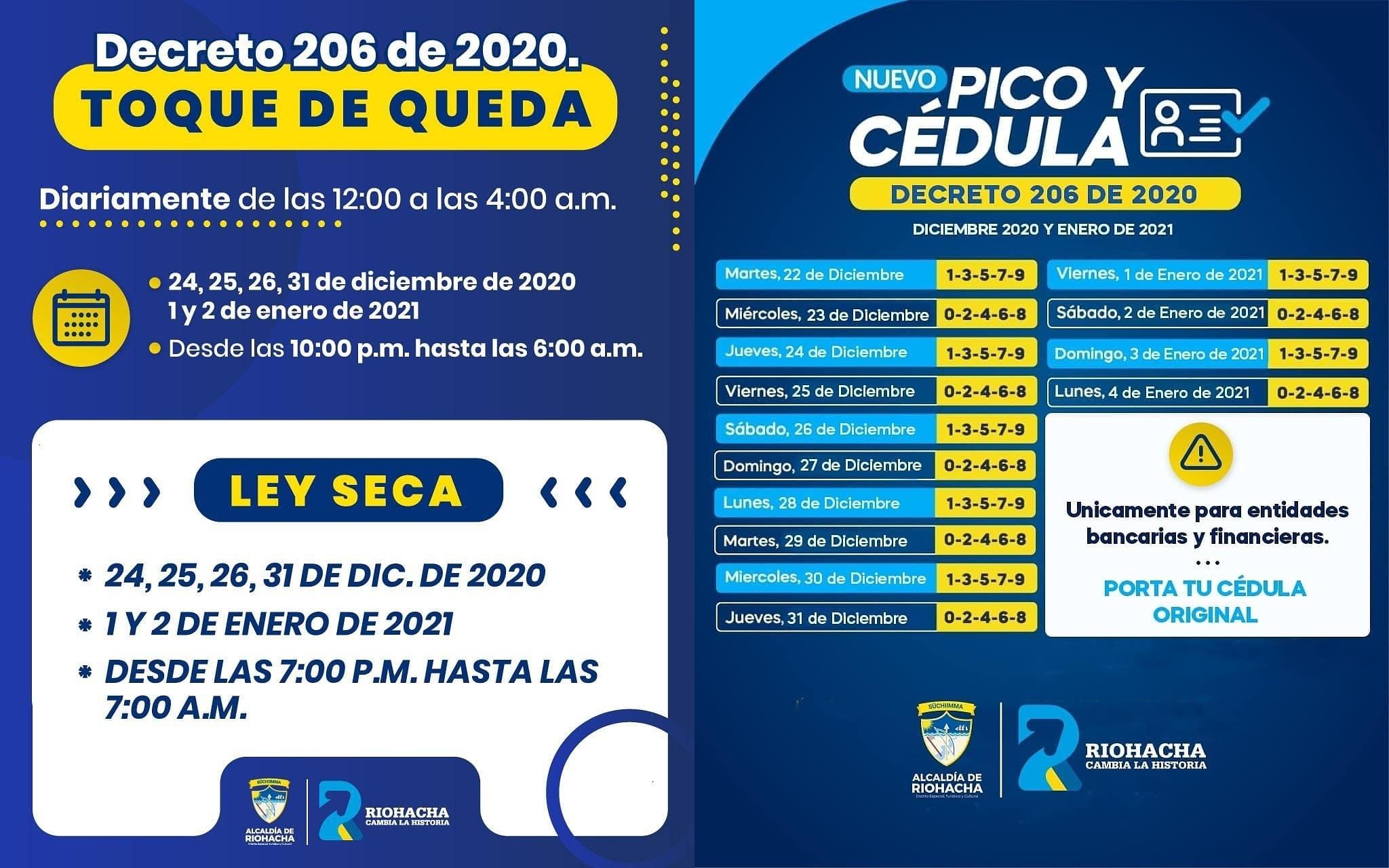 hoyennoticia.com, En Riohacha: Pico y Cédula, Toque de queda, Ley seca  en navidad y año nuevo