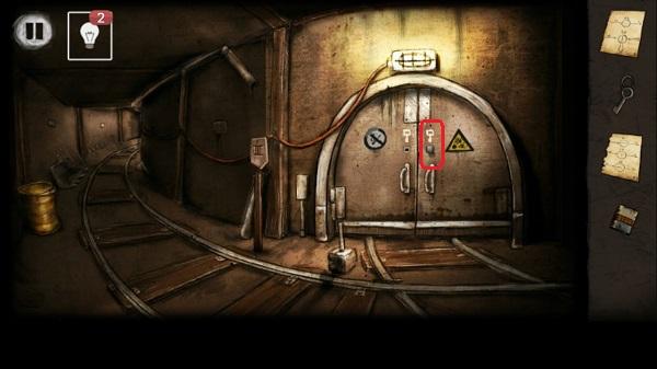 ручку вставляем в замочную скважину в игре выход из заброшенной шахты