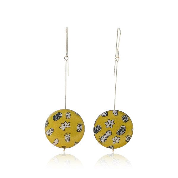 Mustard colored microorgansim drop earrings made of printed card, resin, and silver