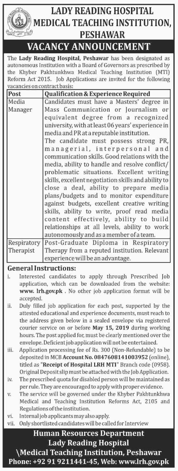 Lady Reading Hospital Latest Jobs in Peshawar 2019