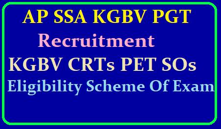 AP SSA KGBV PGT Recruitment 2019 Application Form /2019/06/ap-ssa-kgbv-crt-pet-special-officers-recruitment-eligibility-syllabus-exam-scheme-selection-procedure-download.html