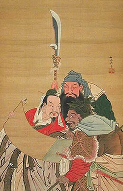 ภาพวาดเล่าปี่ กวนอู เตียวหุย สามพี่น้องร่วมคำสาบานในสวนท้อ