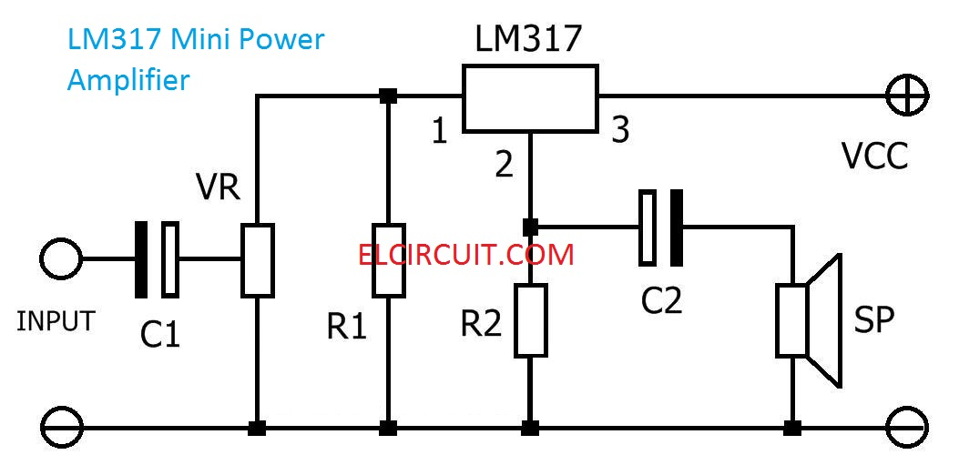 lm317 mini power amplifier circuit