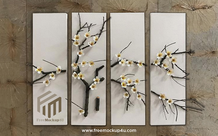 Plum Blossom 3D Relief Jewelry Simple 3D Background Wall Decorative Painting