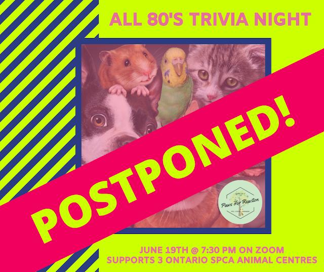 POSTPONED: OSPCA All 80's Trivia Night due to aMEOWzing weather