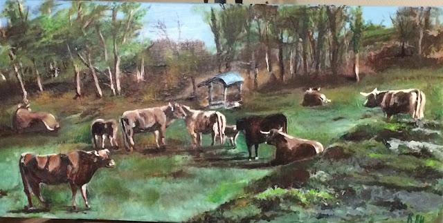 peinture de vaches, à Paussac, en Dordogne