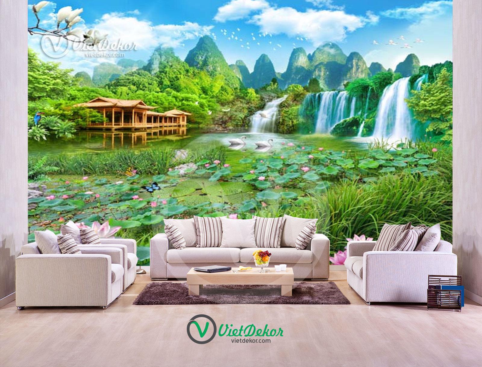 Tranh 3d dán tường phong cảnh ao sen