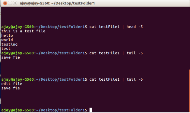 Linux head and tail command