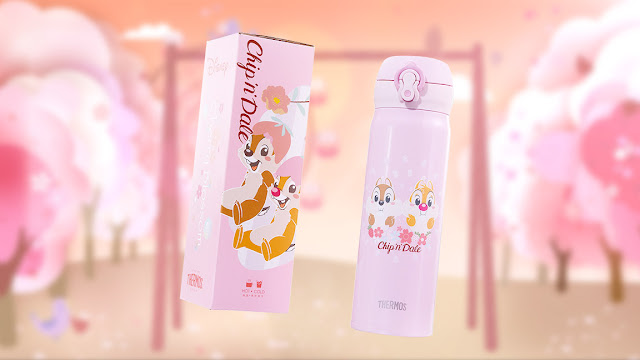 周大福 櫻花主題 保溫水樽 迪士尼經典系列櫻花首飾 鋼牙與大鼻足金工串飾 幸福花願 Disney's ChipnDale