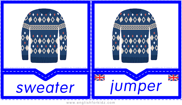 Sweater vs jumper - English clothes and accessories flashcards for ESL students