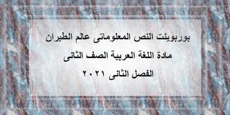 بوربوينت النص المعلوماتى عالم الطيران مادة اللغة العربية الصف الثانى الفصل الثانى 2021