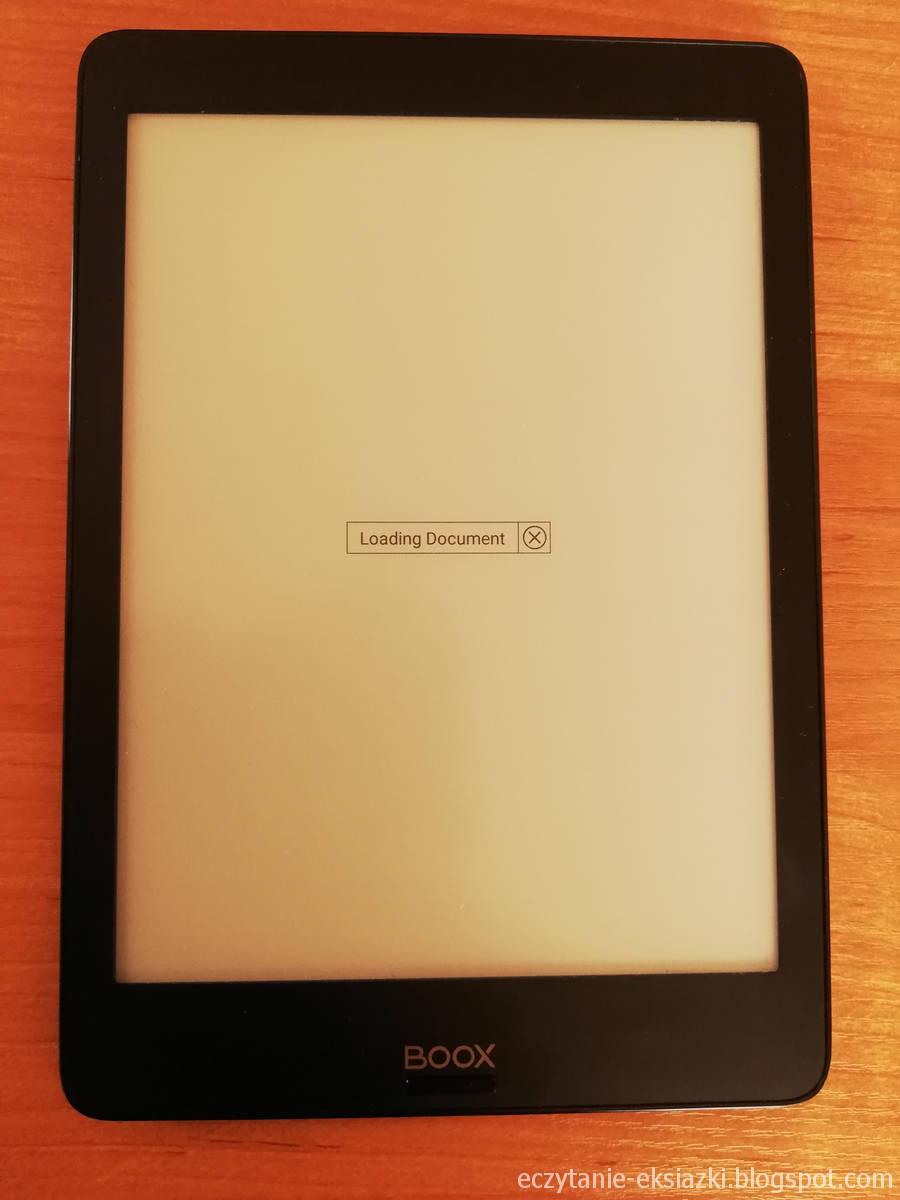Komunikat Loading document przy otwieraniu e-booka w aplikacji Neo Reader 2.0 na Onyx Boox Nova