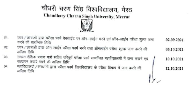 CCS University Back Paper Special Examination 2021