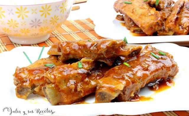 Costillas agridulces estilo chino. Julia y sus recetas