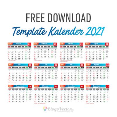 Template Kalender 2021 Logo Vector cdr