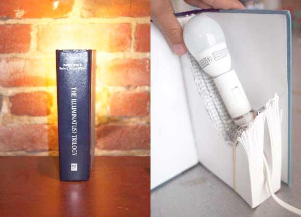 libros, reciclar, lampara, transformar, decoración, manualidades, bricolaje