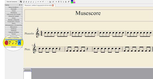 Después solo tenéis que hacer doble click en la opción de la izquierda de el agrupador de notas de Musescore (ver la imagen de abajo) y automáticamente las corcheas se agrupan de dos en dos (cómo se ve en la imagen anterior).