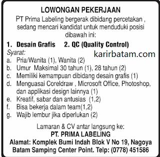 Lowongan Kerja PT. Prima Labeling Indonesia