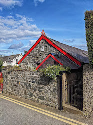 Stone house with red trim in Carlingford Town Ireland
