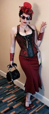 Miss Carriger At San Diego Comic Con 2017 in Red Steampunk Pin-Up