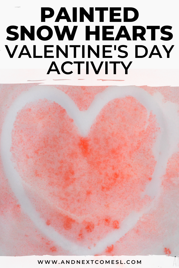 Painted snow hearts - a fun outdoor activity for kids to do in winter and for Valentine's Day