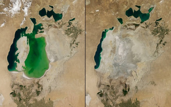 You Still Think Climate Change Is A Hoax These 20 Before-And-After Photos Will Leave You Speechless! - ARAL SEA SHRINKAGE, CENTRAL ASIA, 2000 AND 2014