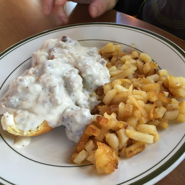 Farm Fresh Biscuits and Gravy and Hashbrowns at Double B Farm Country Store and Cafe in Beloit, Wisconsin