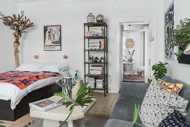 salón y dormitorio en la misma estancia