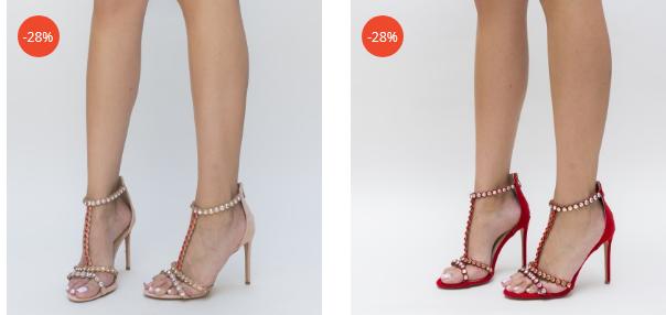 Sandale cu toc elegante rosii, nude cu perle frumoase de ocazii