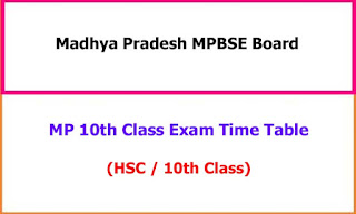 Madhya Pradesh 10th Class Exam Time Table 2021