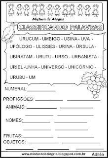 Classificar palavras com letra U